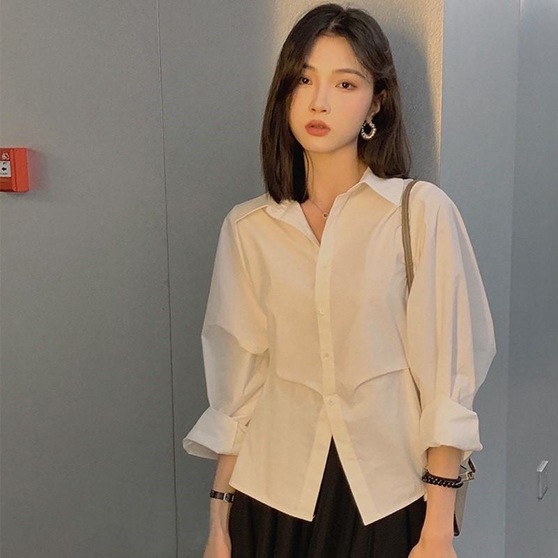 蓝色条纹衬衫女2021新款早秋上衣设计感小众别致长袖法式天丝衬衣