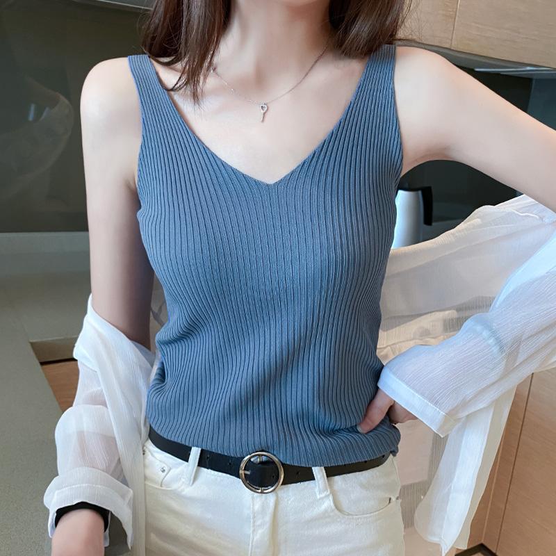 Suspender vest, female V-neck and 2021 summer new white and black ice silk knitted bottomed shirt, sleeveless top