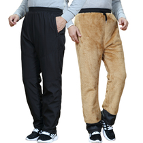 Winter old man cotton pants male outside wear plus velvet thickened middle-aged and elderly down cotton pants cold high waist father winter clothes pants