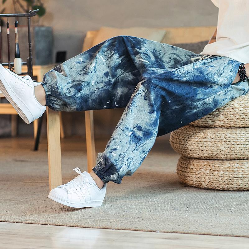夏季中国风棉麻九分裤男士沙滩裤子满118.00元可用50元优惠券