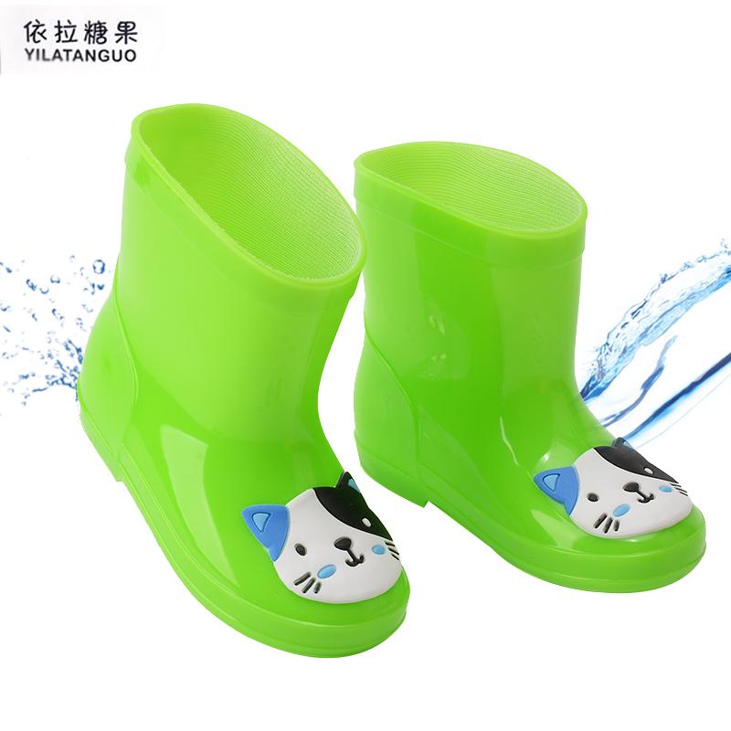 兒童雨鞋男童女童寶寶小學生膠鞋萌物雨靴加絨 防滑水鞋四季