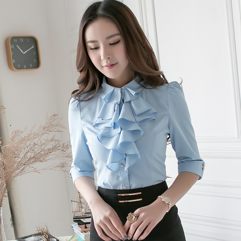 White shirt womens 2018 spring professional wear hotel front desk work clothes 3 / 4 Sleeve Ruffle shirt womens middle sleeve