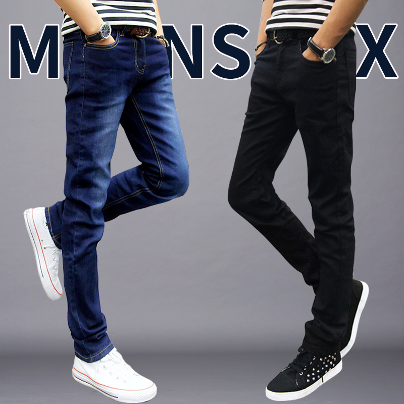 Stretch velvet jeans Korean men cultivating feet thick autumn and winter black casual long pants tide male
