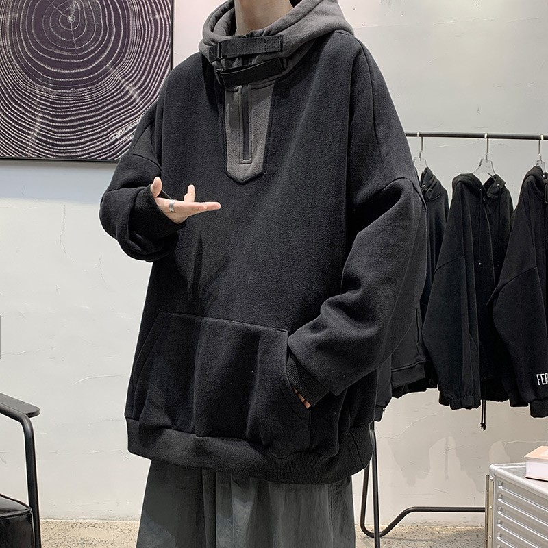 High collar sweater mens autumn and winter Hoodie handsome versatile casual loose Hong Kong style clothes Korean Trend Plush coat