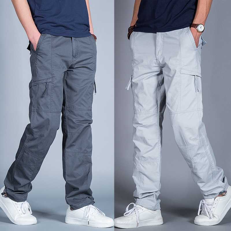 Summer workshop men's outdoor sports casual pants thin model multi-pocket trousers large size straight loose pants male