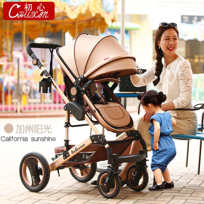 Высокий пейзаж ребенок тележки может сидеть можно лечь легкий сложить портативный лето четырехколесный амортизатор BB детские руки тележки