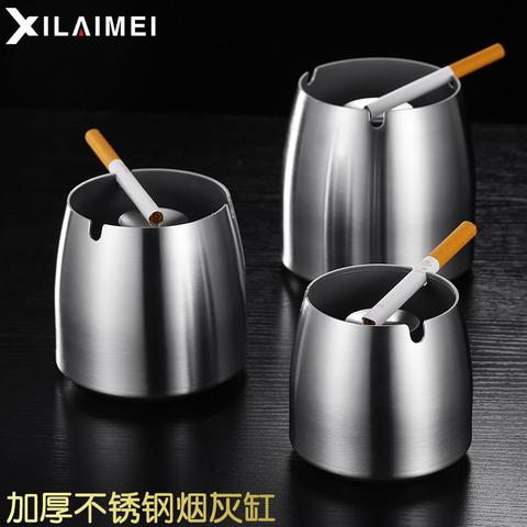 不锈钢烟灰缸配带盖烟缸加厚创意烟盅网吧网咖防飞灰防摔烟灰缸
