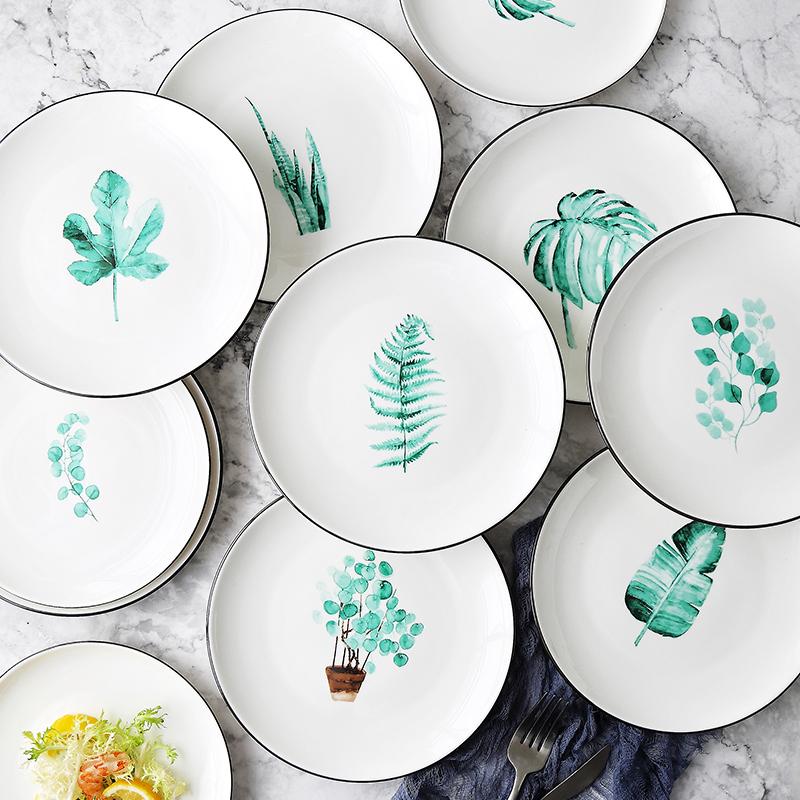 菜盘盘子家用陶瓷碟子创意植物吃饭碗盘简约早餐牛排盘北欧西餐盘