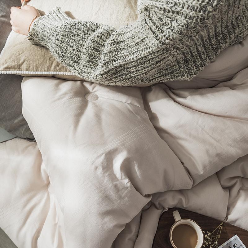裸睡大豆被 春秋单双人北欧日式全棉提花冬被 秋冬季亲肤加厚被子券后179.00元