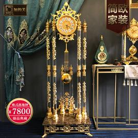 加的芙欧式落地钟客厅豪华大摆钟现代别墅立钟纯铜金色静音家用钟