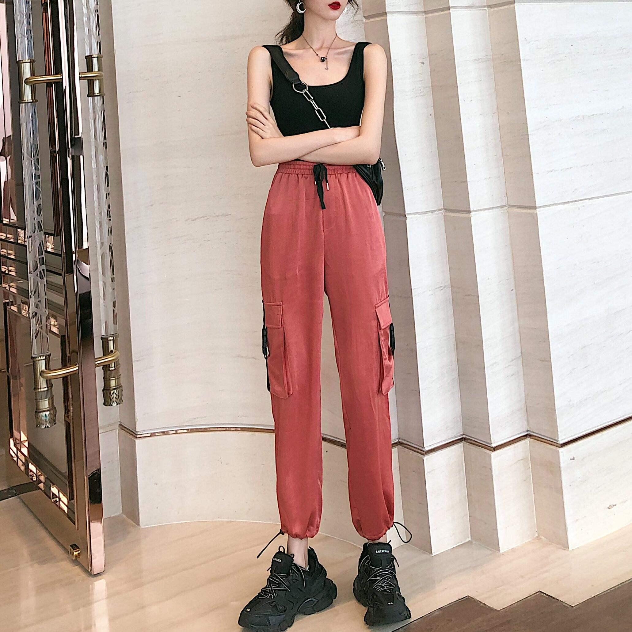 Summer 2020 new vest short casual pants suspender female + loose drawstring corset versatile suit