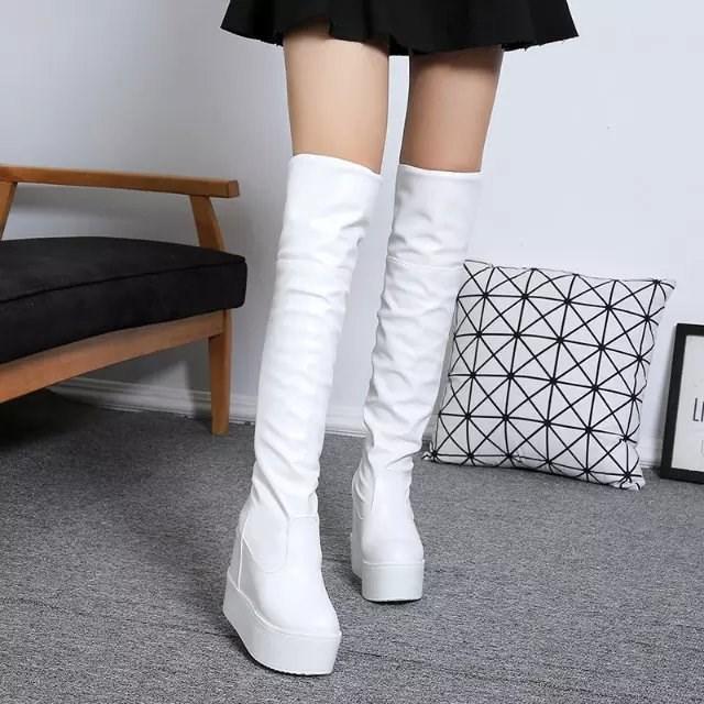 厚底长筒靴超白色12cm高跟鞋长靴内女靴冬季新款坡跟过膝靴子