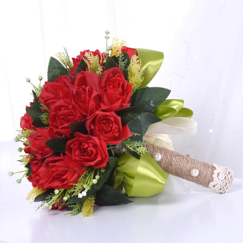 西欧式 红色恋人新娘手捧花 仿真婚礼玫瑰结婚 绢花摄影道具婚纱