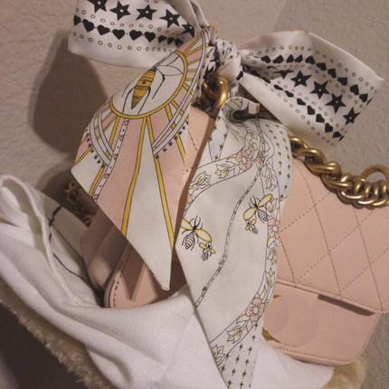 桑蚕丝小长条窄发带包包缠带女丝巾