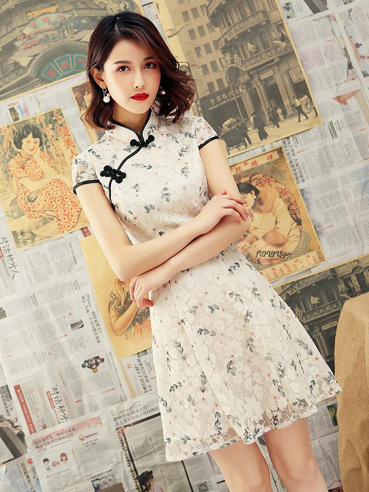 日常新式旗袍改良版年轻款2019夏秋装少女中国风短款小礼服连衣裙168.00元包邮