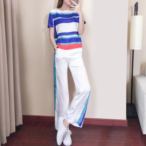 休闲运动服套装女夏季2019新款韩版撞色条纹短袖阔腿裤宽松两件套