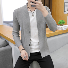 Men's cardigans, knitted shirts, Korean edition fashion, summer clothes, thin personality, sweater jacket, leisure and leisure