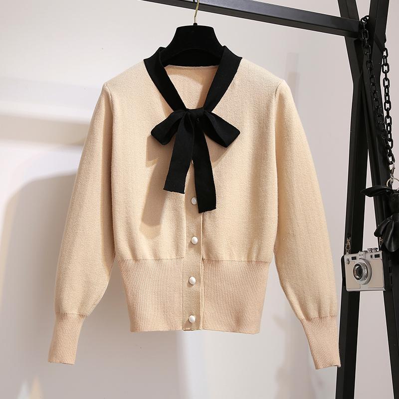 大码女装秋冬新款200斤胖mm加大码蝴蝶结领针织上衣开衫外套毛衣