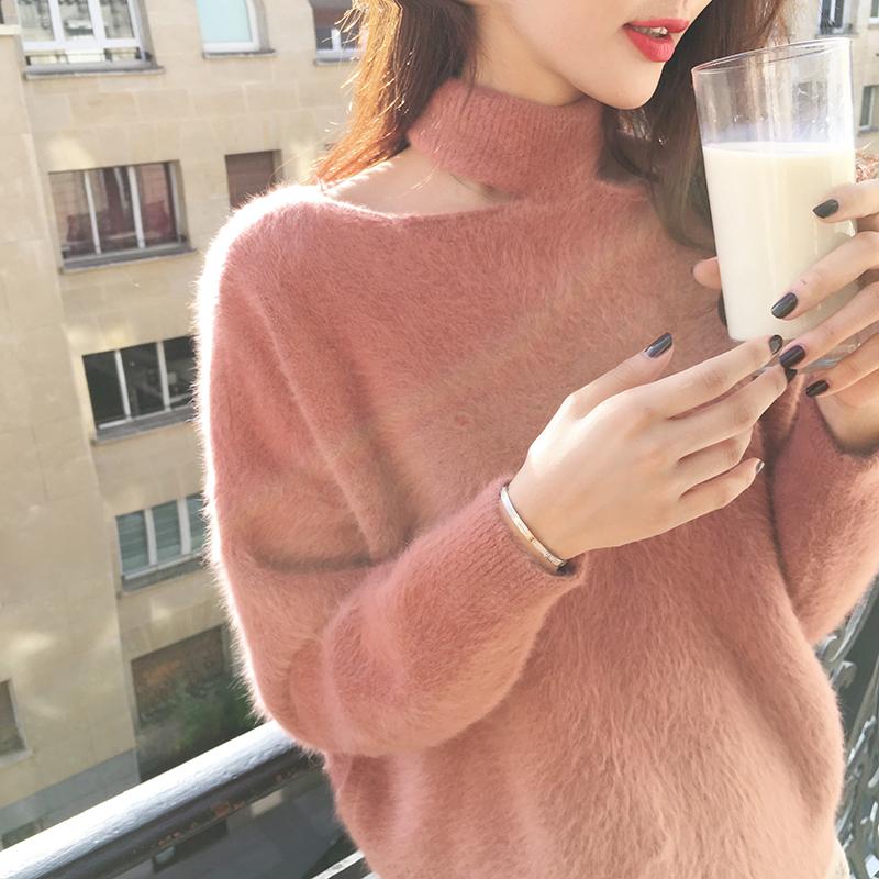 时尚围脖毛衣女显瘦2017秋冬季新款圆领套头水貂毛宽松针织衫上衣