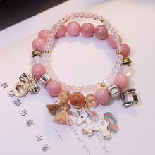 韩版新款森系可爱独角兽串珠手链女学生闺蜜水晶手链手串简约手环