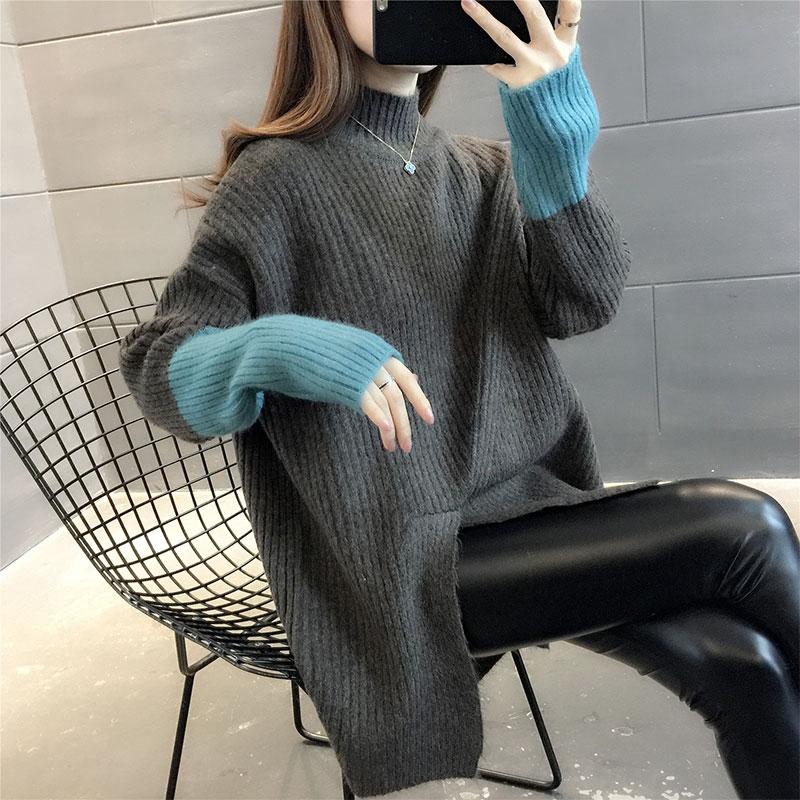 2020秋冬新款半高领毛衣女宽松外穿针织衫女中长款洋气打底毛衣女