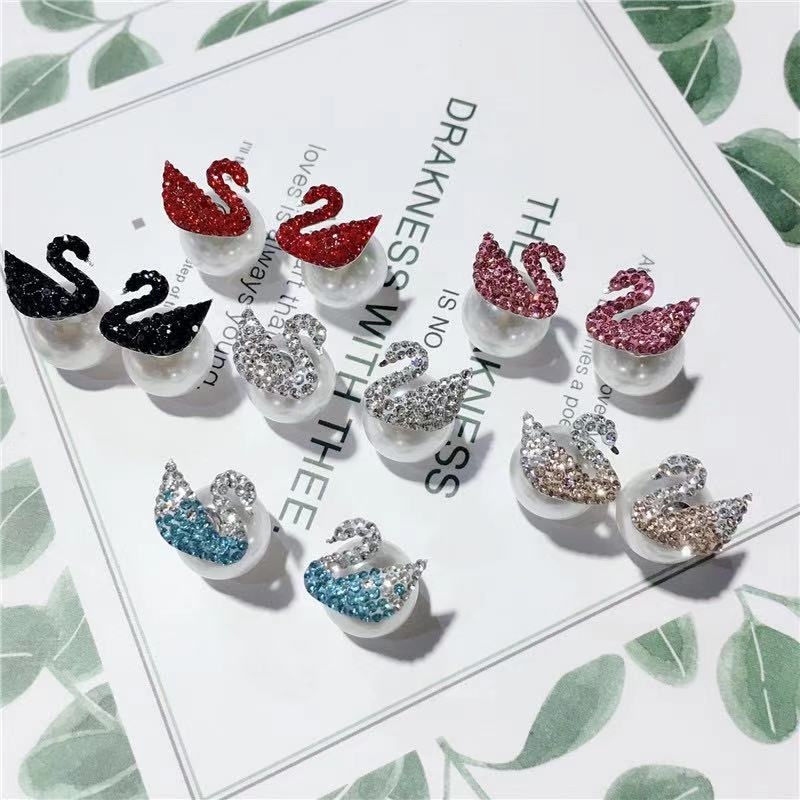 925 Sterling Silver double-sided earrings, personalized front and back earrings, versatile blue black swan pearl, popular female Korean temperament