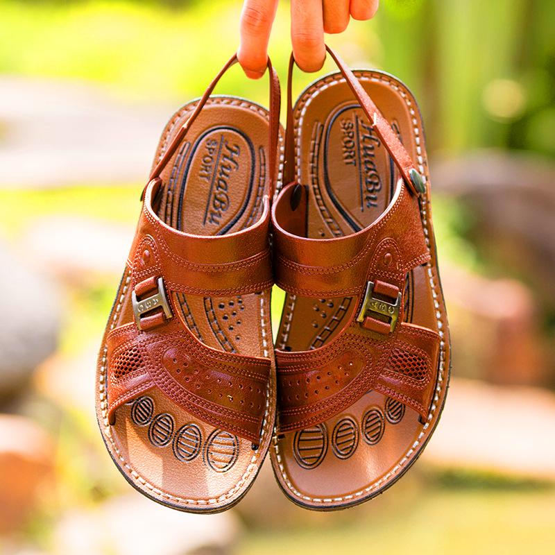 2018夏季新款海边沙滩凉鞋软底防滑男士休闲一字平跟户外两穿凉鞋