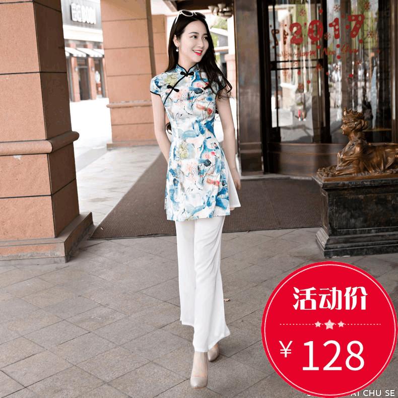 旗袍夏款新款时尚日常少女韩版气质淑女奥黛连衣裙阔腿裤两件套装