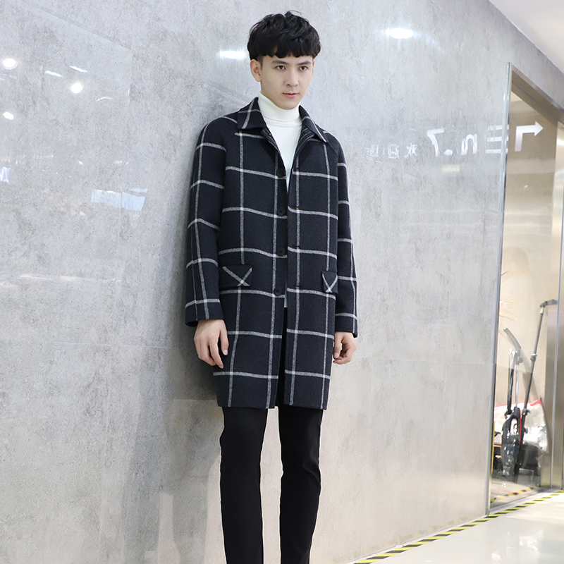 Double sided cashmere coat for mens 2019 new woollen medium length fashionable windbreaker cool Korean plaid coat