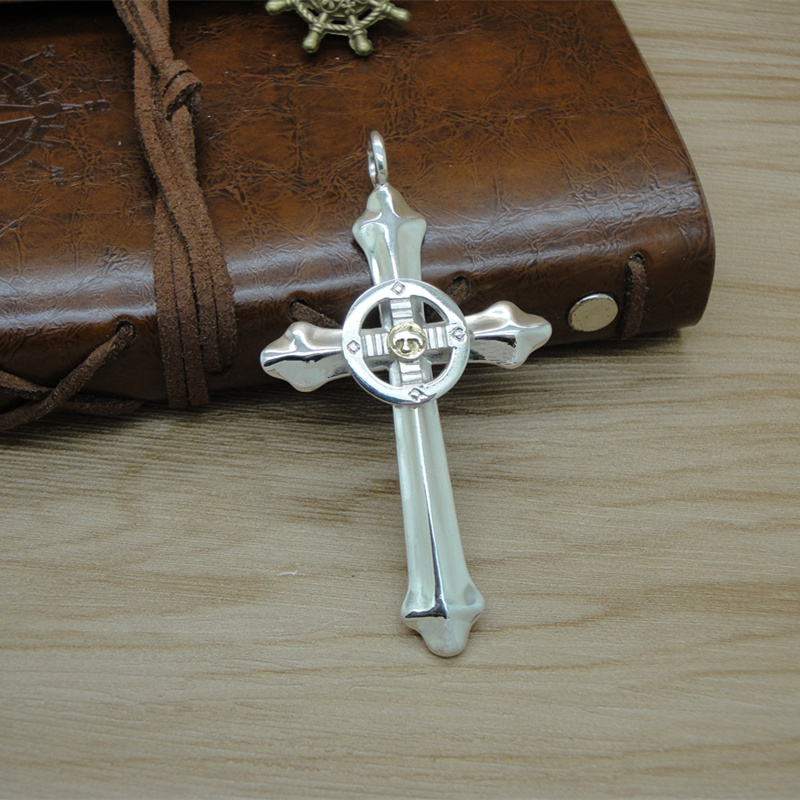 S925 Sterling Silver Cross Pendant mens Sterling Silver trendy simple personality high bridge style necklace pendant fashion fashion accessories