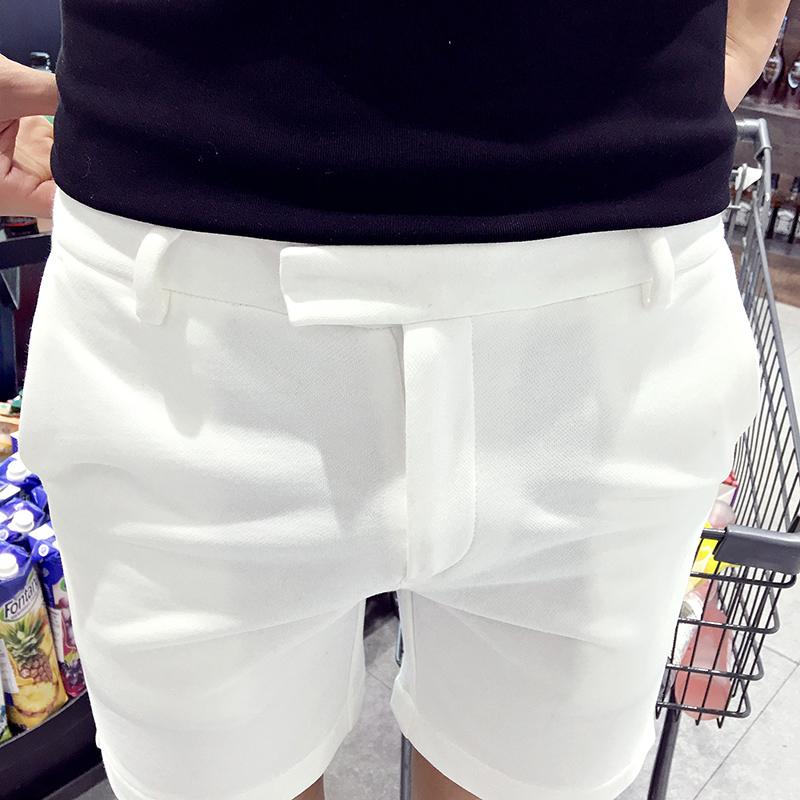 夏季休闲短裤男五分裤青年修身休闲裤韩版白色百搭四分裤潮流中裤
