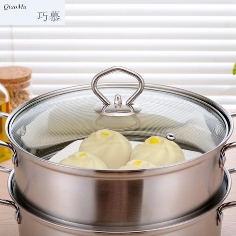 YJY304不锈钢汤锅 单层汤锅加厚复底蒸锅 蒸汤锅煲汤锅具电磁炉通