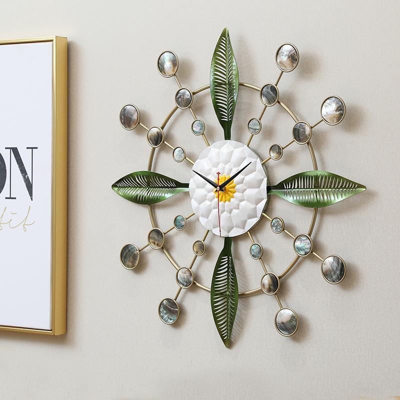 【黑贝壳挂钟】北欧太阳客厅静音挂表个性创意简约时尚家用石英表
