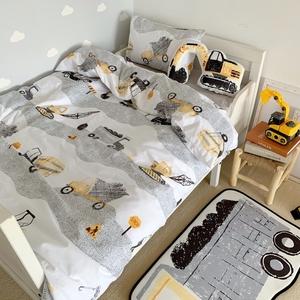 全棉儿童床品四件套床单纯棉卡通婴童小床工程车被单1215米