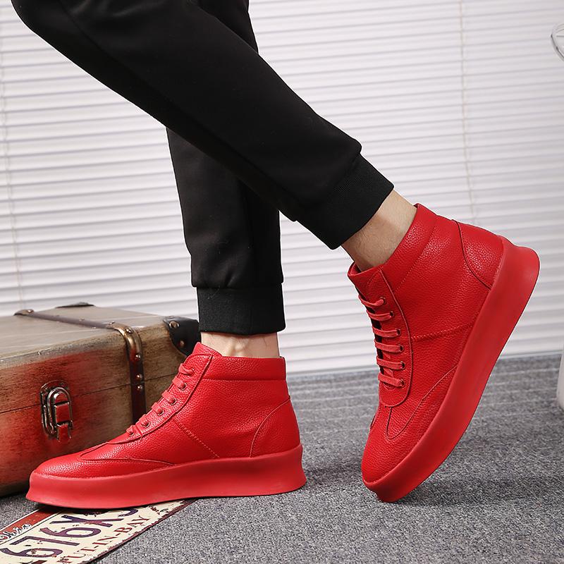 男鞋春季嘻哈鞋韩版潮流百搭红色高帮板鞋男英伦内增高马丁靴男潮