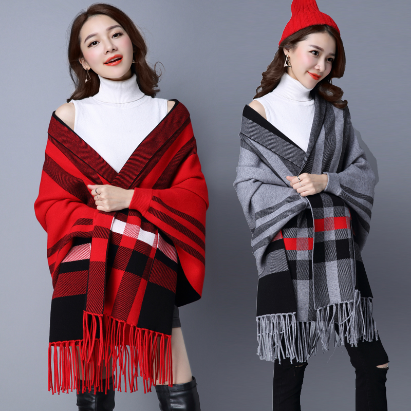 Scarf cashmere with sleeve Cape thickened tassel stripe Cape autumn winter versatile shawl knitted wool coat