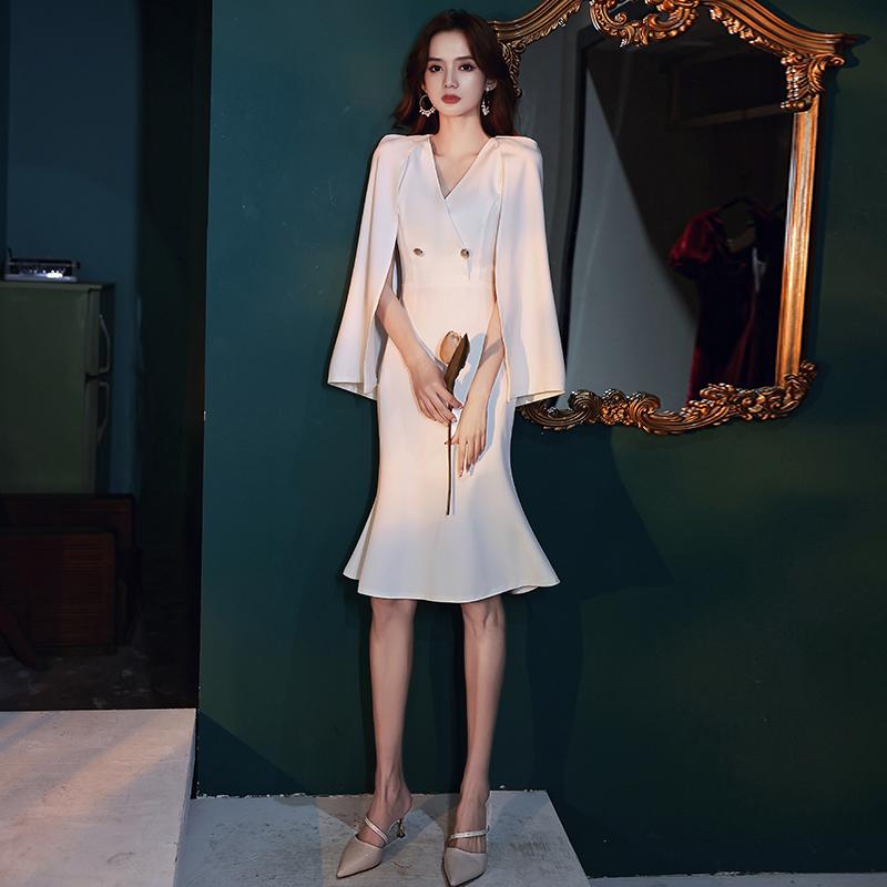 白色高端晚礼服女2020新款连衣裙