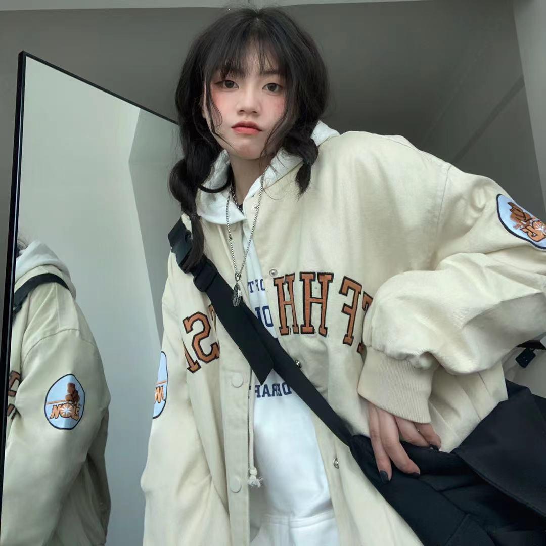 棒球服外套女2021年新款初春季原宿风韩版宽松复古港风chic夹克潮