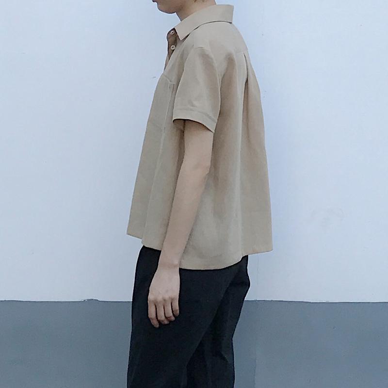 zsrj20夏季新款卡其色短袖日系衬衫