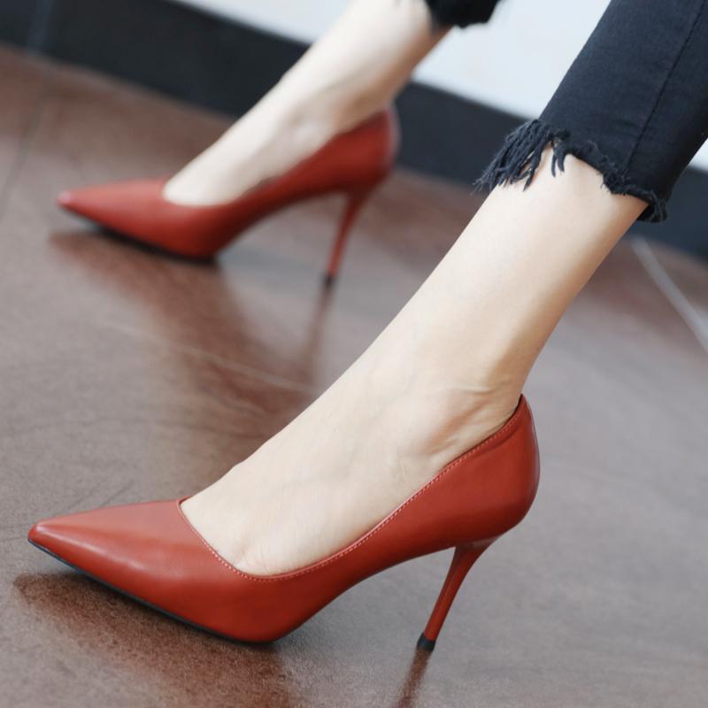 香港代購歐美淺口尖頭單鞋女時尚女士細跟高跟鞋春季2019新款女鞋