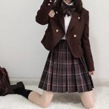 三七家【布朗尼】三团定金预约原创正版格裙JK制服百褶裙日系短裙