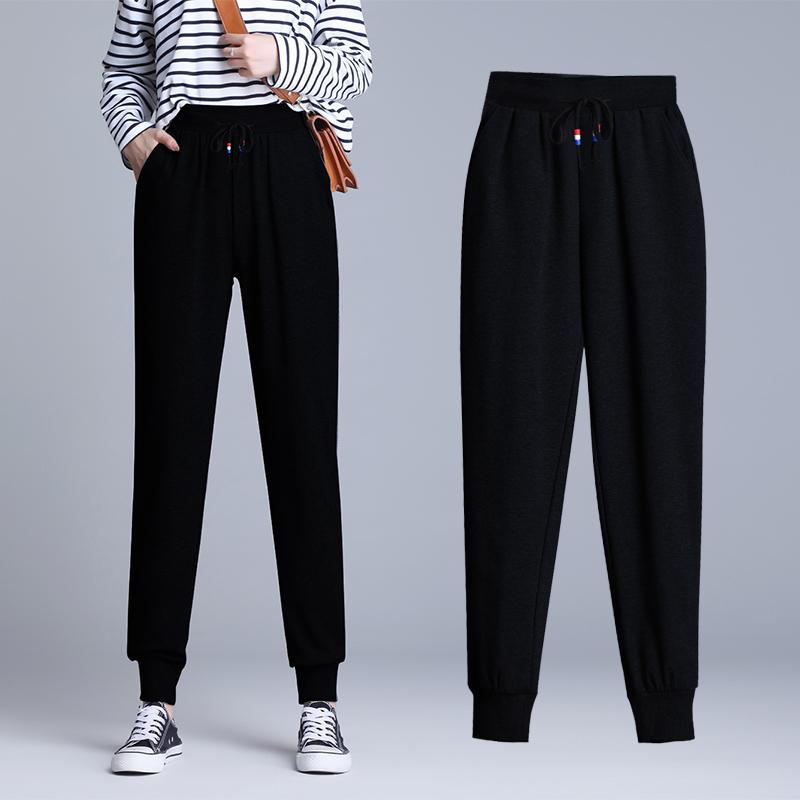 2020新款春装款松束脚运动女裤子大码外穿哈伦卫裤显瘦休闲裤长裤