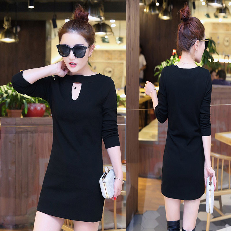 Fat mm spring new large slim solid color long sleeve dress fashion Korean sexy fart pencil skirt