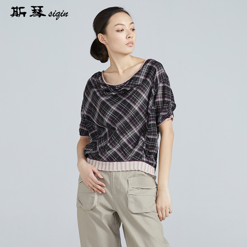 斯琴女装夏季熟女彩线混纺格纹休闲圆领套头短袖上衣10XS003