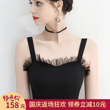 黑色晚小礼服裙女2018新款秋冬季显瘦短款洋装名媛聚会连衣裙宴会