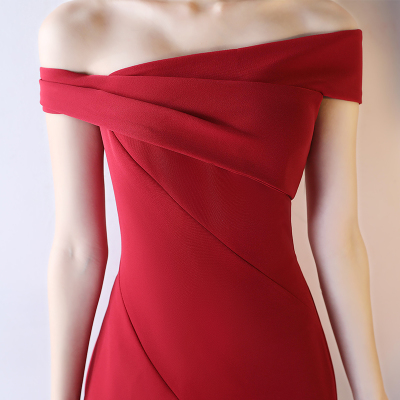 敬酒服新娘2020结婚新款气质性感一字肩酒红色宴会晚礼服裙女长款