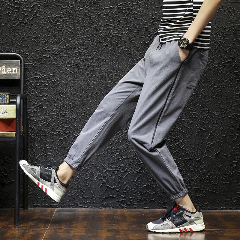 九分裤男士休闲裤男弹力韩版修身小脚裤9分潮流运动裤子春季新款