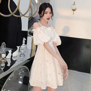 白色小晚礼服裙新款女宴会气质小个子短款洋装派对法式平时可穿夏图片