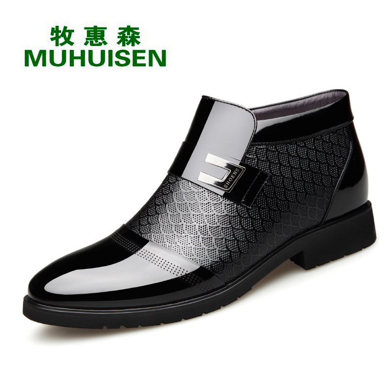 Winter thickened wool and cotton shoes mens thick soled leather warm high top mens shoes Plush antiskid business formal leather shoes for men