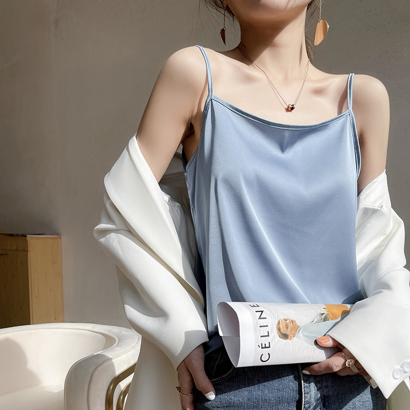 Simulated silk suspender vest female V-neck suit interior design sense Satin Vest mulberry silk coat with suit